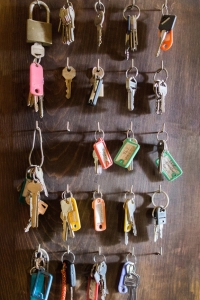 Keys hanging from door